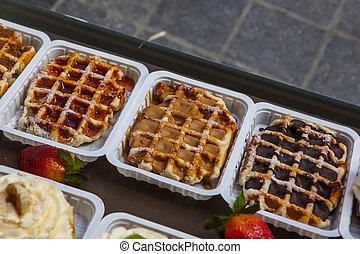 "The legendary belgian ""Gaufres de Lieges"" with caramel"