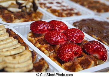 "The legendary belgian ""Gaufres de Lieges"" with strawberry"