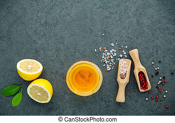 The lemon vinaigrette dressing ingredients lemon, olive oil,...