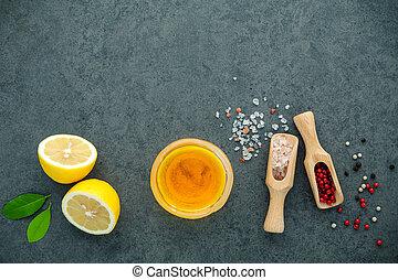 The lemon vinaigrette dressing ingredients lemon, olive oil,...
