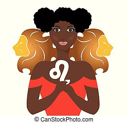the leo lady - the illustration with the sign of zodiac -...