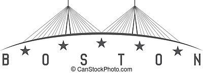 The Leonard P. Zakim Bunker Hill Memorial Bridge, Boston Massachusetts USA vector illustration