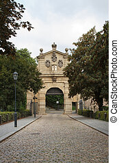 The Leopold Gate, the entrance to the fortress Vysehrad. ...