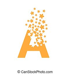 The letter A dissolves into a cloud of flowers