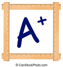 The Letter A in a wood ruler frame isolated on white, Good Grades