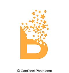 The letter B dissolves into a cloud of flowers