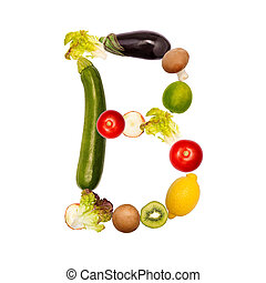 The letter b in various fruits and vegetables