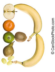 The letter 'B' made out of fruit