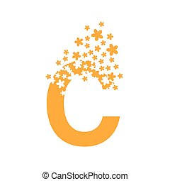 The letter C dissolves into a cloud of flowers