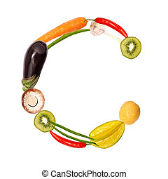 The letter c in various fruits and vegetables