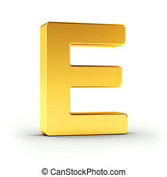 The letter E as a polished golden object with clipping path