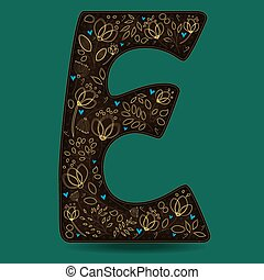The Letter E with Golden Floral Decor.