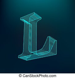 The letter L. Polygonal letter. Low poly model. The three-dimensional mesh. Volume mesh character.