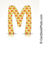 The letter M made of Mango