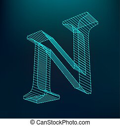 The letter N. Polygonal letter. Low poly model. The three-dimensional mesh. Volume mesh character.