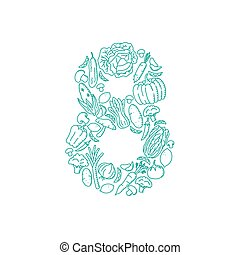 The letter number eight or 8, in alphabet Vegetable pattern set illustration kids hand drawing concept design green color, isolated on white background, vector eps 10