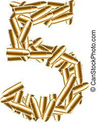 The letter number five or 5 gold color, in the alphabet bullet set, illustration 3D virtual design isolated on white background