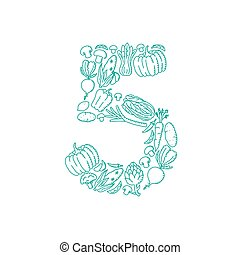 The letter number five or 5, in alphabet Vegetable pattern set illustration kids hand drawing concept design green color, isolated on white background, vector eps 10