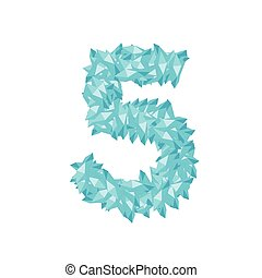 The letter number five or 5, in the alphabet Crystal diamond 3D virtual set illustration Gemstone concept design blue color, isolated on white background, vector eps 10