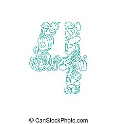 The letter number four or 4, in alphabet Vegetable pattern set illustration kids hand drawing concept design green color, isolated on white background, vector eps 10