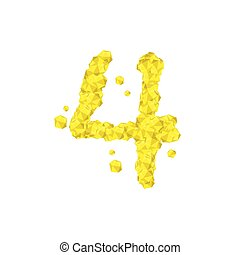 The letter number four or 4, in the alphabet Crystal diamond 3D virtual set illustration Gemstone concept design yellow color, isolated on white background, vector eps 10