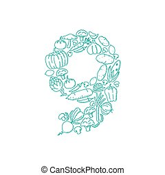 The letter number nine or 9, in alphabet Vegetable pattern set illustration kids hand drawing concept design green color, isolated on white background, vector eps 10