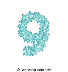 The letter number nine or 9, in the alphabet Crystal diamond 3D virtual set illustration Gemstone concept design blue color, isolated on white background, vector eps 10
