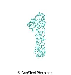The letter number one or 1, in alphabet Vegetable pattern set illustration kids hand drawing concept design green color, isolated on white background, vector eps 10