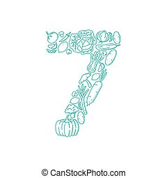 The letter number seven or 7, in alphabet Vegetable pattern set illustration kids hand drawing concept design green color, isolated on white background, vector eps 10