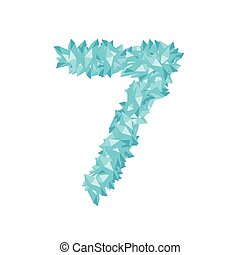 The letter number seven or 7, in the alphabet Crystal diamond 3D virtual set illustration Gemstone concept design blue color, isolated on white background, vector eps 10