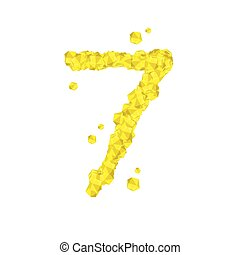 The letter number seven or 7, in the alphabet Crystal diamond 3D virtual set illustration Gemstone concept design yellow color, isolated on white background, vector eps 10