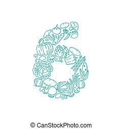 The letter number six or 6, in alphabet Vegetable pattern set illustration kids hand drawing concept design green color, isolated on white background, vector eps 10