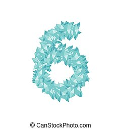 The letter number six or 6, in the alphabet Crystal diamond 3D virtual set illustration Gemstone concept design blue color, isolated on white background, vector eps 10