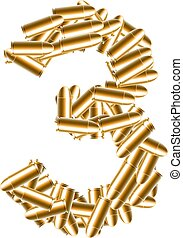The letter number three or 3 gold color, in the alphabet bullet set, illustration 3D virtual design isolated on white background
