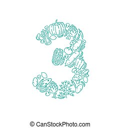 The letter number three or 3, in alphabet Vegetable pattern set illustration kids hand drawing concept design green color, isolated on white background, vector eps 10