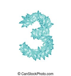 The letter number three or 3, in the alphabet Crystal diamond 3D virtual set illustration Gemstone concept design blue color, isolated on white background, vector eps 10