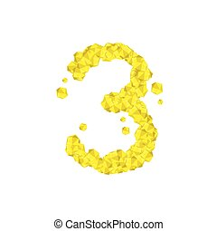 The letter number three or 3, in the alphabet Crystal diamond 3D virtual set illustration Gemstone concept design yellow color, isolated on white background, vector eps 10