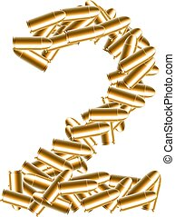 The letter number two or 2 gold color, in the alphabet bullet set, illustration 3D virtual design isolated on white background