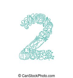 The letter number two or 2, in alphabet Vegetable pattern set illustration kids hand drawing concept design green color, isolated on white background, vector eps 10