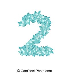 The letter number two or 2, in the alphabet Crystal diamond 3D virtual set illustration Gemstone concept design blue color, isolated on white background, vector eps 10