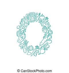 The letter number zero or 0, in alphabet Vegetable pattern set illustration kids hand drawing concept design green color, isolated on white background, vector eps 10
