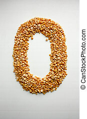 The letter O. English alphabet from cereals