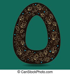 The Letter O with Golden Floral Decor.