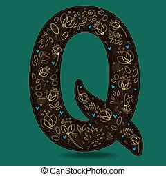 The Letter Q with Golden Floral Decor.