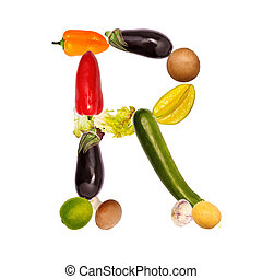 The letter r in various fruits and vegetables