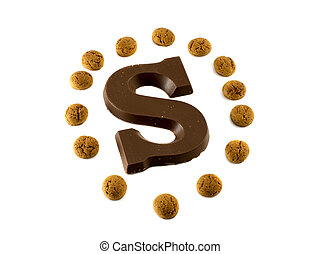 the letter S from chocolate