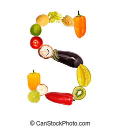 The letter s in various fruits and vegetables