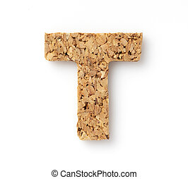 """The letter """"T"""" on the cork on a white background"""