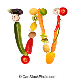 The letter w in various fruits and vegetables