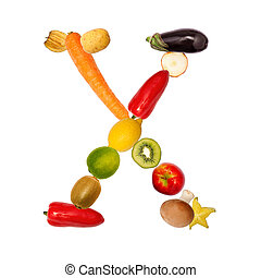 The letter x in various fruits and vegetables